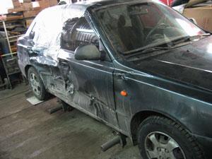 Hyundai Accent битый бок БЫЛО